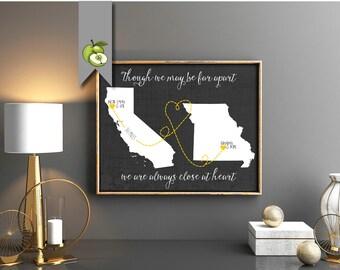 long distance family, gift for grandparents, world map printable, Christmas Gift, Grandma, Grandpa, Grandchildren, custom Map, any states