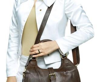 Ladies leather business bag, leather shoulder bag, Brown handbag .genuine leather bag , Leather Tote, office bag - valentine gift