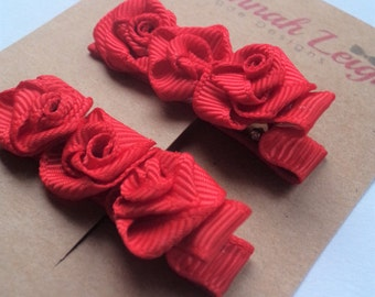 Red rose ribbon flower girls grosgrain hair clips