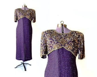 Sequined Dress Laurence Kazar Dress 1980s Dress 80s Dress Trophy Purple Dress 1930s Costume Gatsy Dress Vintage CLothing Womens Clothing