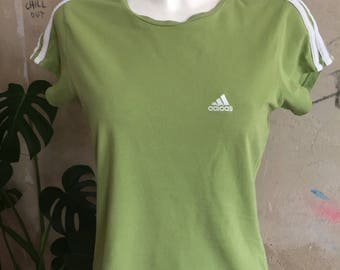 ADIDAS apple green 90s club kid vintae elastic top t shirt women size M