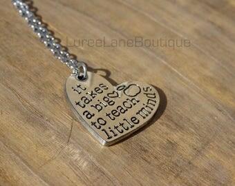 Teacher necklace/Teacher jewelry/Back to school gift/Teacher gift/Stamped necklace/Gift for teacher/Heart necklace/Teacher appreciation