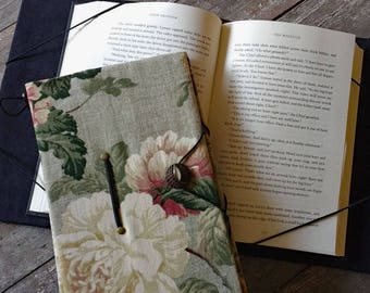 XL book holder, hands free trade size book cover, floral print, book privacy, gift for readers, bookworm, reading aid, arthritis help