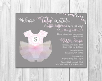 3D Tutu Ballerina Baby Girl Shower Invitations | Tutu Excited (8 Invitations and 8 Envelopes)