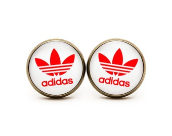 Adidas Stud Earrings Logo Jewelry Logo Retro Red White Studs Sport jewelry Studs