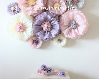 Oversized paper flowers 8 units Ash pink/Ash lilac Dusty blush. Vintage party centerpiece. Rustic boho wall decor. Breathtaking Blooms.