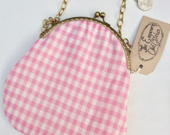 """Pink and White Gingham Handbag """"Dorothy Eat Your Heart Out"""" crossbody shoulder purse bag cute small by The Emperor's Old Clothes"""