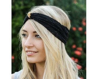 black headband, gold knot headband, turban headband, womens headband, adult headband, valentines day gift, Gift For Her