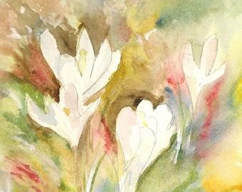 Watercolor Flowers-ORIGINAL Painting--Flower Painting-Crocus Flowers-8x8