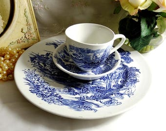 Vintage 1960's, Countryside Blue by Wedgwood Dinner Plate, Cup and Bowl,  Blue and White