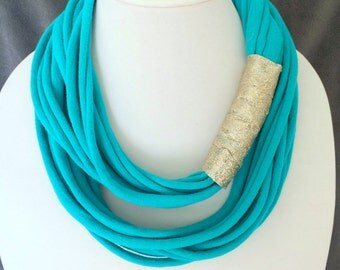 Turquoise Tshirt Scarf w/ Glitter Ribbon