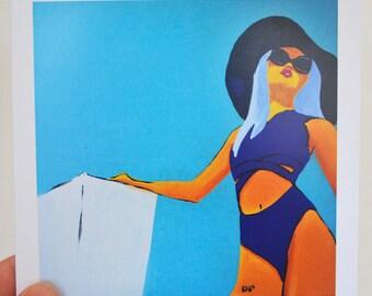 Greeting card 'Blue Summer' - festive summertime blank card