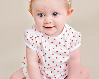 Strawberry Summer Dress, Shorty Dress for Baby Girls