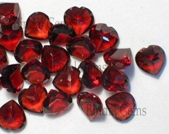 10 Pieces Wonderful Lot AAA Quality Natural Garnet Heart Shape Faceted Cut Loose Gemstone