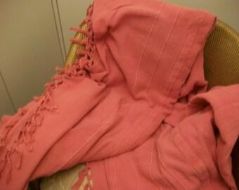 Vintage Pink Throw, Bedspread, 100 per cent cotton