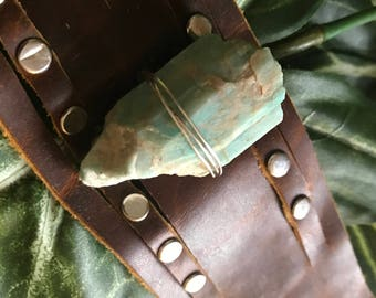 AMAZONITE and vintage leather cuff