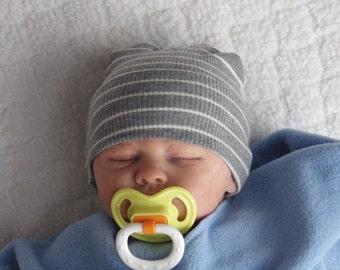 Newborn Hospital Hat. Newborn Hospital Beanie. Newborn Boy Hat. Newborn Girl Hat. Gender Neutral Hospital Hat. Grey Newborn Hat.