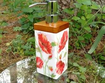 "Soap/Lotion Dispenser, Kitchen Decor, Bathroom Decor, Poppy Decor, Gift Idea, Mothers Day Gift, For Mom, For Her, Birthday Gift - ""Poppies"""