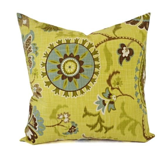 Gold Brown Throw Pillows : Two Throw Pillows in Gold Brown and Blue Floral Print