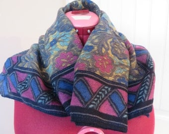 Vintage SCARF Floral PAISLEY Square Wrap, Blue/Teal/Green/Magenta, Women's
