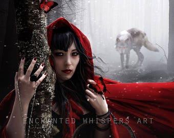 Red Riding Hood, Fairytale art, Fairytale print, Fairytale decor, Little Red art, Little Red print, wolf art, wolf decor, fantasy wall art