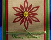 Handmade Kraft Poinsettia Christmas Card