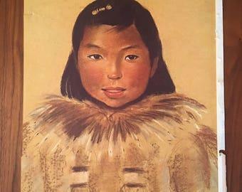 """Alaskan Artist Muriel Hannah Print Entitled """"FANNIE FULLMOON"""" QUINHAGAK, 1954, Copyrighted"""