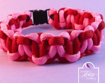 Heart Paracord Bracelet, Pink Red Solomons Heart Paracord Bracelet, Heart Bracelet, UK