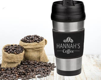 Black Leatherette and Stainless Steel Personalized Coffee Travel Mug, Custom Engraved Office Gift