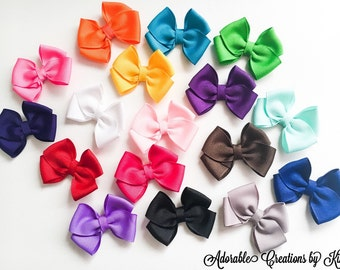 Solid Mini Bows (20 COLORS) tiny hair bows little bow minis small hair bows pigtail bows small hair clip