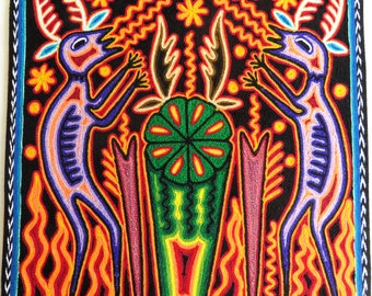"""12"""" Huichol yarn painting 30-007 E Mexican painting, Huichol Yarn, Mexico art, Mexican art, Mexican decor, Huichol painting, Huichol art,"""