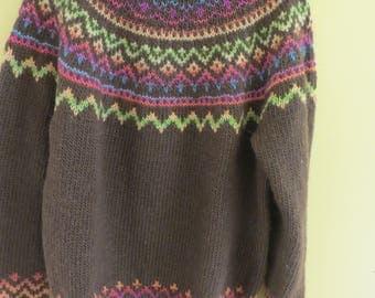 Brown wool handknit fair isle sweater