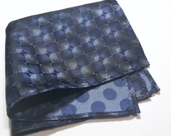 SILK Pocket Square with Double Sided polka dots in Navy Blue Charcoal Grey and Black