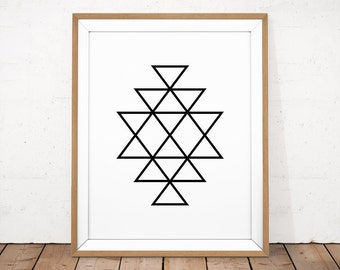 Southwestern print, Black and white printable, Aztec wall art, Abstract geometric print, Scandinavian print, Geometrical wall art, Black art