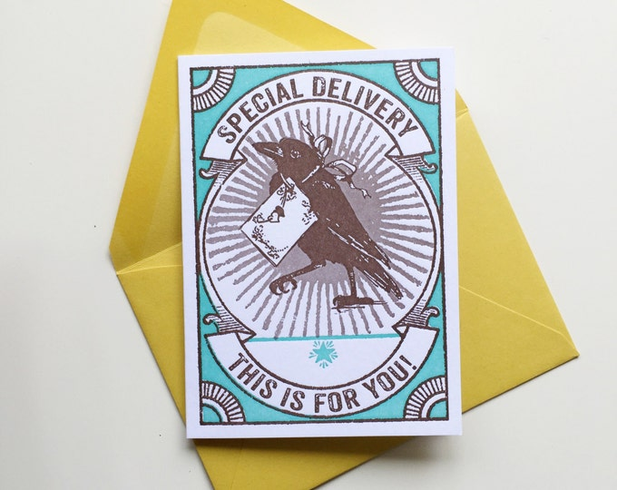 Petite Letterpress greeting card Special Delivery Raven TEAL