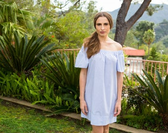 Estyn - MALLORCA Striped Off The Shoulder Dress