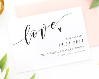 Editable PDF Printable Save the Date Template, Save the Date DIY, Custom Save the Date Cards, Instant Download [S34]