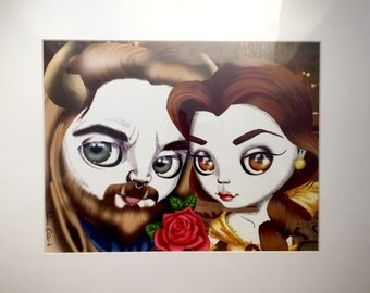"""Belle and Beast, from Disney's """"Beauty and the Beast"""" 16x20"""" Art Print by deShan"""