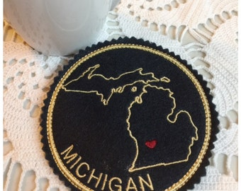 I Heart Michigan Coaster and Ornament Machine Embroidery Design Instant Download I Love Michigan with Positionable Heart