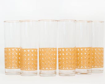 Vintage Libbey Wicker Print Iced Tea Tumblers, SET of 6 Cooler Tom Collins Glasses Woven Pattern, Mid Century Barware
