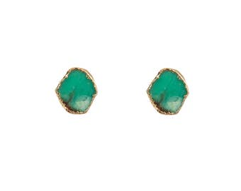 Helios Australian Jade Studs, Polished Gemstone Studs, Presh Studs, Brass Studs, Natural Stone Studs, Gold Plated Studs