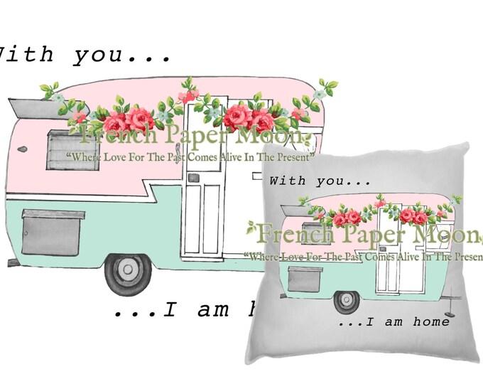 Vintage Shabby Digital Camper, Retro Camper, trailer, RV, DIY Digital Camper Pillow Image, Camper Transfer, Instant Download