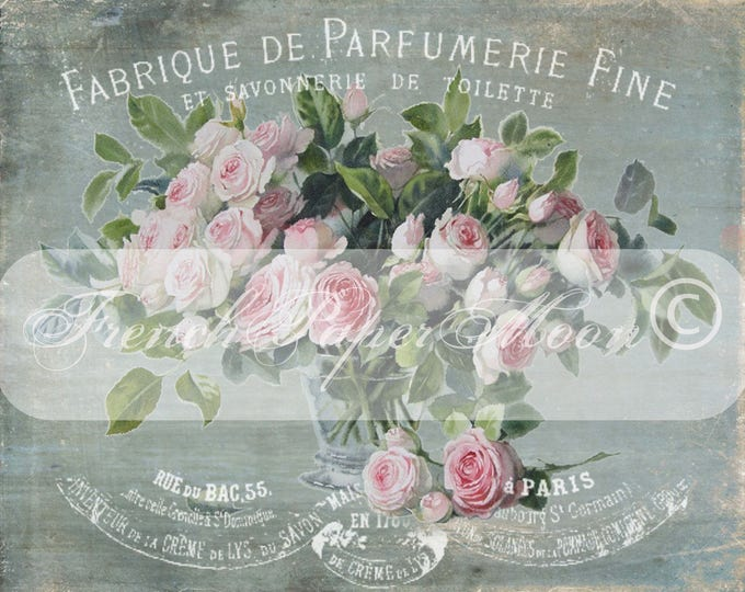 Vintage Shabby French Digital Roses, French Perfume Roses, Elegant French Rose Graphic Transfer, French Pillow Image