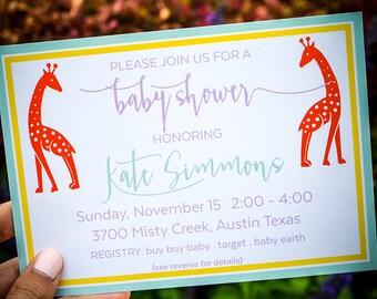 Printed Custom Baby Shower Invitation, Personalized Baby Sprinkle Invites, Baby Shower Invitations, Giraffe Baby Shower Party Invites