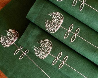 Linen Placemats Hand Embroidered Placemats Set 6 Dark Green Handmade