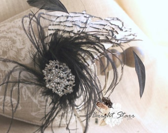 Black and white headband - feather fascinator - black feather headband - flapper feather headband - white feather headband - feather crown