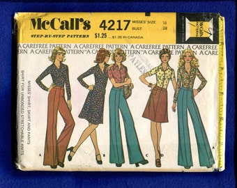 1970's McCall's 4217 Classic Retro Wide Leg Pants & Large Pointed Collar Shirt Size 16
