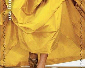 Yellow Dress Forever Postage Stamps // Oscar De La Renta Designer Gown // Mustard Fashion Forever Postage Stamps for Mailing