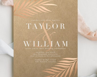 Rose Gold Foiled Wedding Invitation