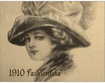 VINTAGE STYLE POSTCARD,1910 Reproduction Fashion Postcard,Vintage Fashion,Stationary,Postcards,Postcard Lot,Edwardian Lady Sketch Postcard